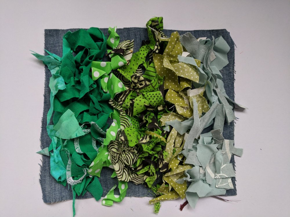 Green scraps laid on base layer