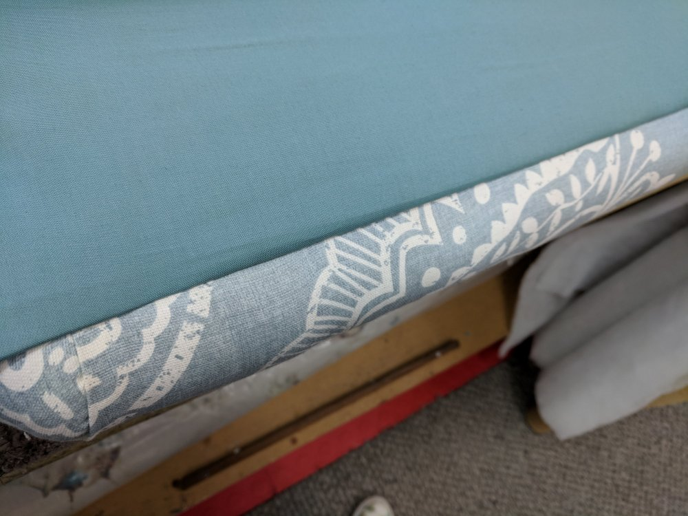 Lining fabric now flipped over to reveal clean front edge