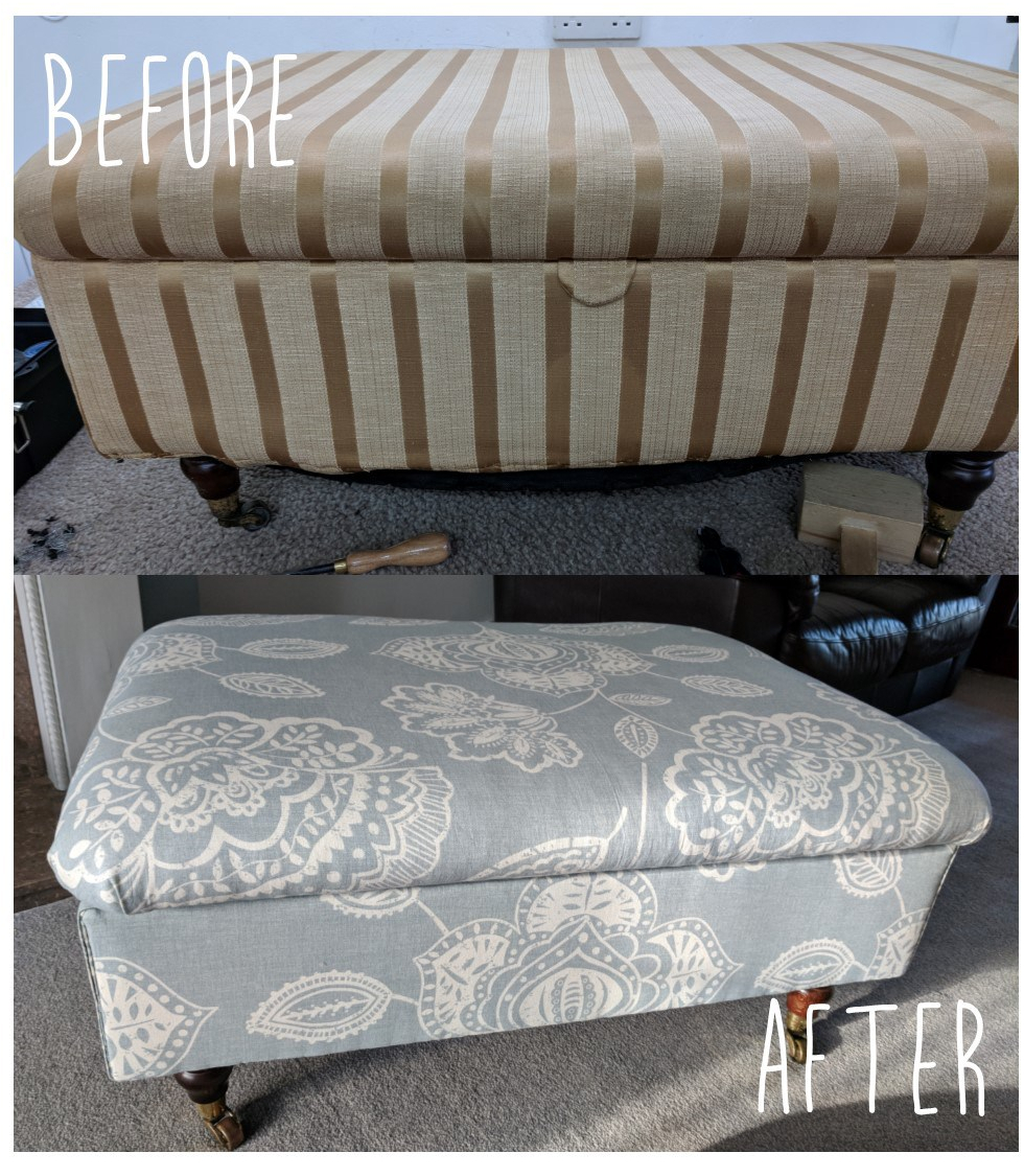 Before and after picture of footstool