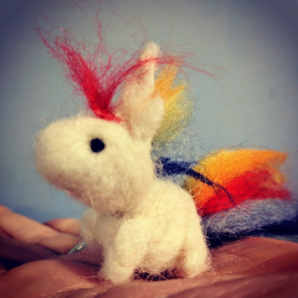 Mini needle felted unicorn with rainbow mane and tail