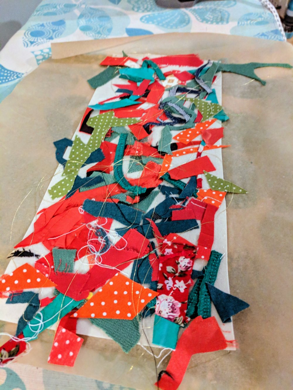 Ironed scraps on backing