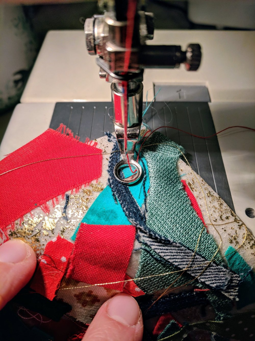 Ready to be sewn with embroidery foot at the sewing machine